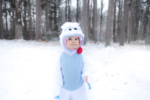 The very first shot we took in 2016 was way back in February. We had a few ideas on the list that we knew would need to be taken in the snow, so we ordered an Abominable Snowman costume and waited for the next big snowfall. We went to Ocean County Park in Lakewood after about 8 inches of snow fell in a day. We were unpleasantly surprised to find the park closed due to inclement weather. That didn't stop us from getting out right outside the entrance and taking a few photos near the tree-line at the edge of the park. It was at this moment that we realized Charles's newfound ability to stand would be a game-changer for this round of photos. This is one of our favorite pictures of Charlie ever and has been the background on my laptop for nearly a year.
