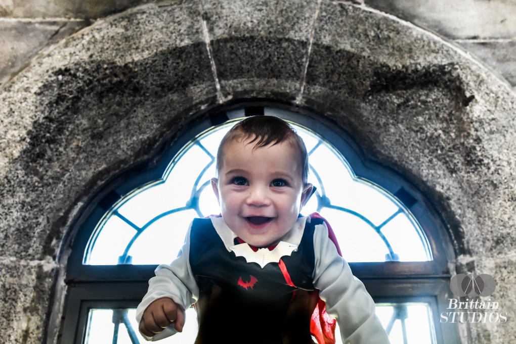 October 2nd – Just before we took the Frankenstein picture, we explored the inside of Belvedere Castle for backgrounds that would resemble Dracula's castle. Despite being overrun with the NYC tourist crowd, we found a quiet corner in the gift shop with the perfect Medieval window. The lighting was not ideal, but we got the best smile out of Charlie (even though he licked the corn syrup blood off of his own face) before we continued on our journey through the city. Only by chance had he grown a Bram Stoker-esque widow's peak which we formed into a triangle for the authentic Transylvanian hairstyle.